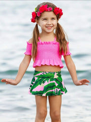 Girls Ruffled Smocked Cold Shoulder Top and Palms Print Skirted Two Piece Swimsuit - Hot Pink / 2T/3T - Girls Two Piece Swimsuit