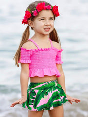 Girls Ruffled Smocked Cold Shoulder Top and Palms Print Skirted Two Piece Swimsuit - Girls Two Piece Swimsuit