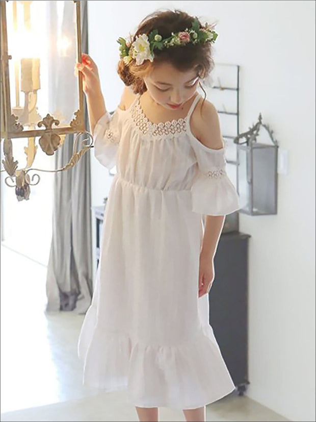Girls Ruffled Strappy Cold Shoulder Dress - Girls Spring Casual Dress