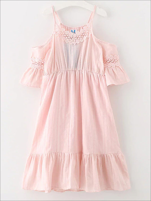Girls Ruffled Strappy Cold Shoulder Dress - Pink / 4T/5Y - Girls Spring Casual Dress