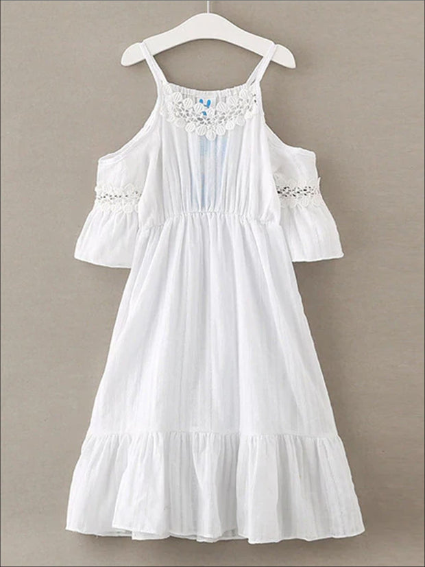 Girls Ruffled Strappy Cold Shoulder Dress - White / 4T/5Y - Girls Spring Casual Dress