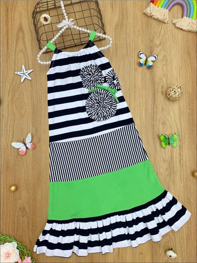 Girls Ruffled Striped Floral Halter Dress - Black / 4T - Girls Spring Casual Dress