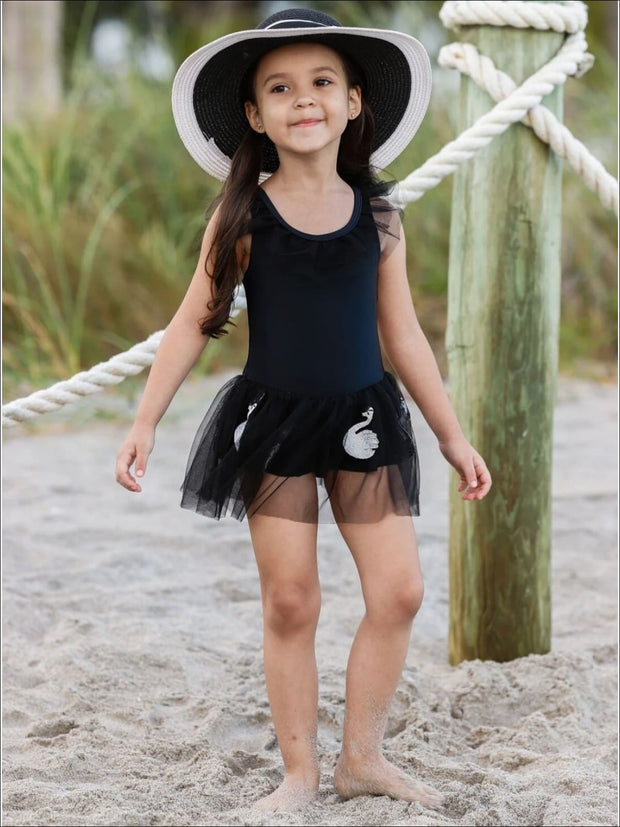 Girls Ruffled Swan Embroidered Tutu Skirt One Piece Swimsuit - Girls One Piece Swimsuit
