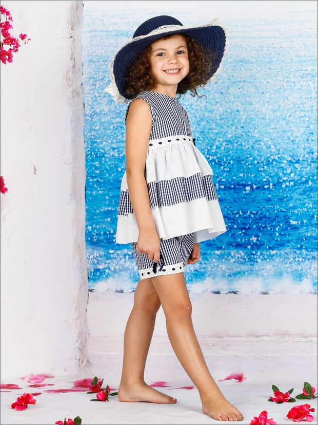 Girls Ruffled Tiered Lace Trimmed Tunic & Shorts Set - Girls Spring Casual Set