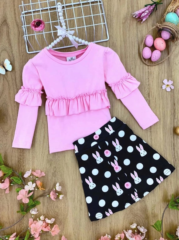 Girls Ruffled Top and Bunny Polka Dot Button Skirt - Pink / 2T - Girls Easter Set