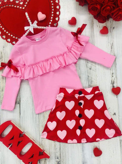Girls Ruffled Top and Buttoned Skirt Set - Pink / 2T - Girls Fall Casual Set