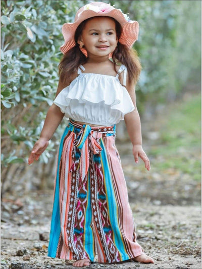 Girls Ruffled Top and Sash Tie Pants - Multicolor / 2T/3T - Girls Spring Casual Set