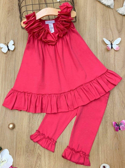 Girls Ruffled Tunic and Capri Leggings Set - Fuchsia / 2T - Girls Spring Casual Set