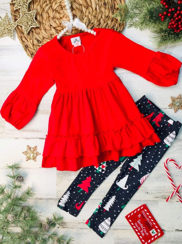 Girls Ruffled Tunic and Christmas Tree Snow Leggings Set - Red / 3T - Girls Christmas Set