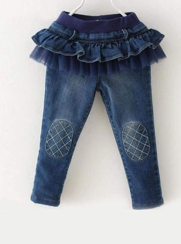 Girls Ruffled Tutu Knee Patch Jeans - Girls Jeans