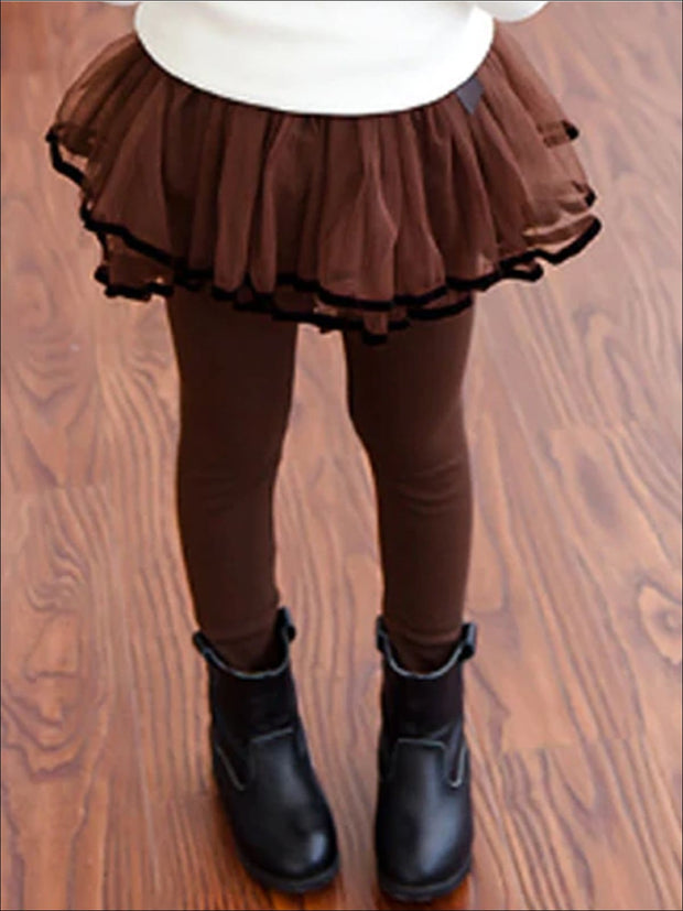 Girls Ruffled Tutu Skirt Leggings with Satin Bow - Girls Leggings