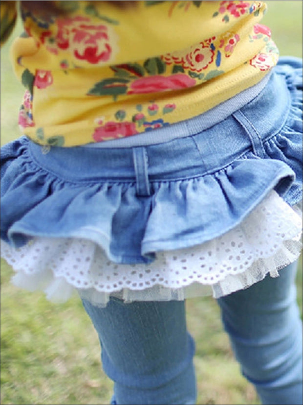 Girls Ruffled Tutu Skirted Jeans - Girls Jeans