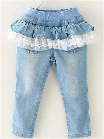 Girls Ruffled Tutu Skirted Jeans - light blue / 3T - Girls Jeans