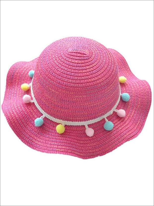 Girls Ruffled Wave Edge Pom Pom Banded Straw Hat - Hot Pink - Girls Hats