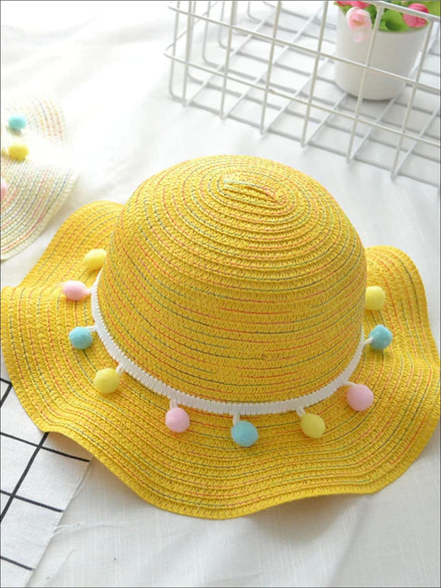 Girls Ruffled Wave Edge Pom Pom Banded Straw Hat - Yellow - Girls Hats