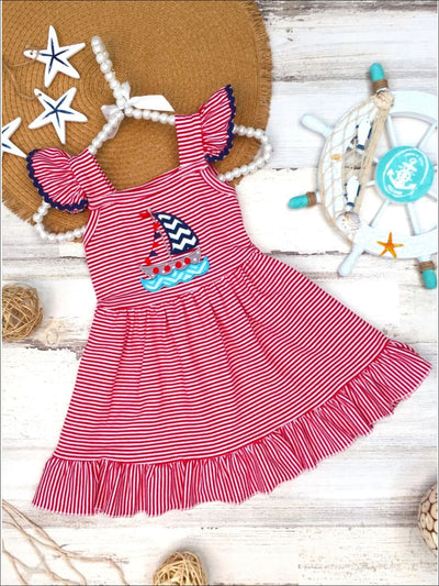 Girls Sail Boat Applique Crochet Trimmed Flutter Sleeve Ruffled Dress - Red / XS-2T - Girls Spring Casual Dress