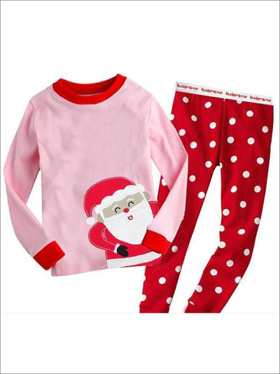Girls Santa Claus Polka Dot Holiday Pajama Set - Pink/Red / 2T - Girls Christmas Pajama