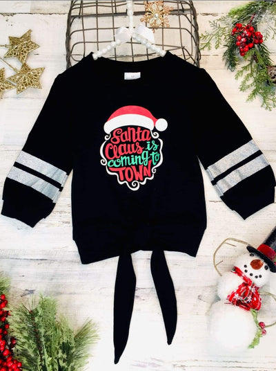 Girls Santa Clause is Coming to Town Knot Top - 2T / Black - Girls Christmas Top