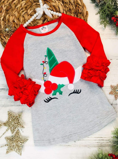 Girls Santa Elf Unicorn Ruffled Raglan Top - Red / 2T - Girls Christmas Top