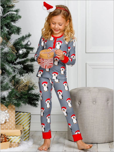 Girls Santa Penguin Button Cuffed Pajama Set - Girls Christmas Pajama