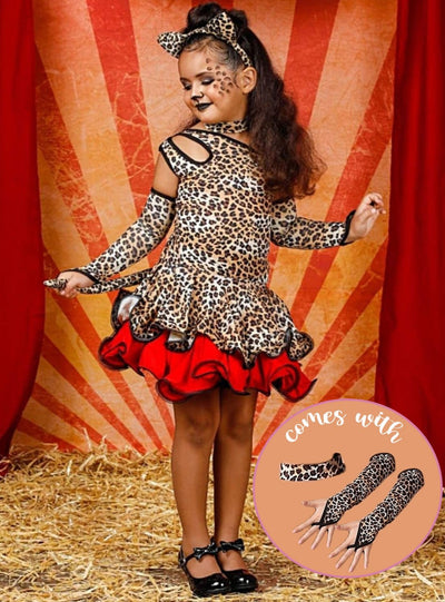 Girls Sassy Leopard Halloween Costume Dress