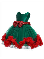 Girls Satin and Tulle Holiday Princess Dress with Sequined Bow (2 Color Options) - Girls Fall Dressy Dress