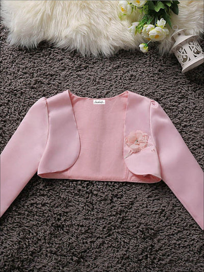 Girls Satin Flower Applique Bolero - Pink / 3T - Girls Jacket