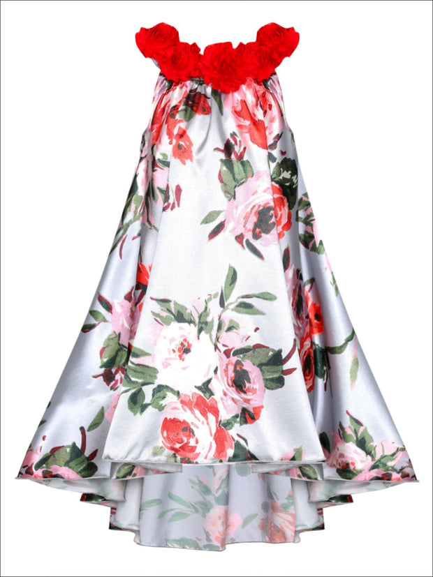 Girls Satin Hi-Lo Circle Neck Twirl Dress with Flower Trim - Girls Spring Dressy Dress