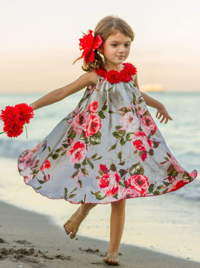Girls Satin Hi-Lo Circle Neck Twirl Dress with Flower Trim - Grey / 2T/3T - Girls Spring Dressy Dress