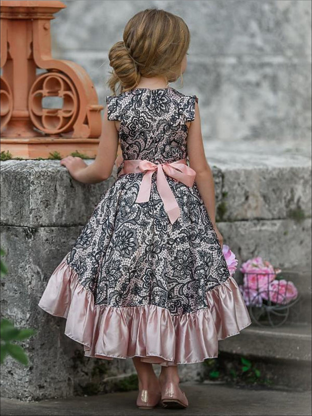 Girls Satin Printed Flutter Sleeve V-Neck Hi-Lo Dress with Ruffled Hem - Girls Fall Dressy Dress
