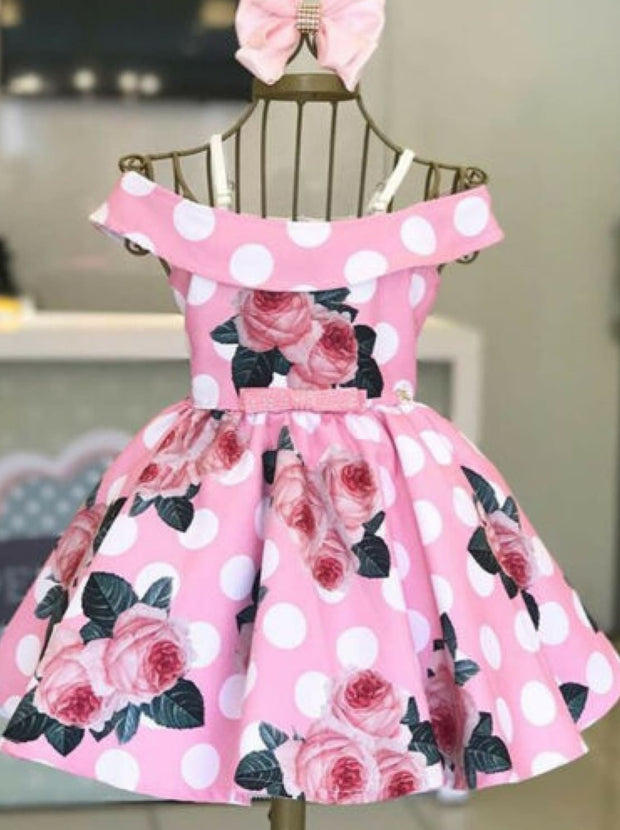 Girls Satin Rose Polka Dot Dress - Pink / 2T - Girls Spring Dressy Dress