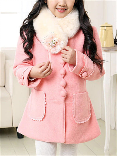 Girls Scalloped Lace Trimmed Fall Coat with Faux Fur Collar (Pink & Red) - Pink / 3T - Girls Jacket
