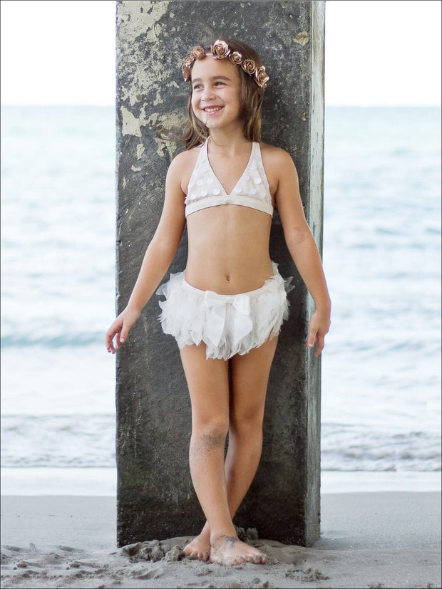 Girls Seashell Sequin Halter & Mesh Skirted Bikini with Bow Detail - Girls Two Piece Swimsuit