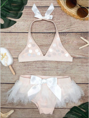 Girls Seashell Sequin Halter & Mesh Skirted Bikini with Bow Detail - Beige / 3T - Girls Two Piece Swimsuit