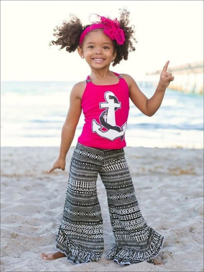 Girls Sequin Anchor Scrunch Back Tank Top & Printed Ruffled Hem Palazzo Pant Set - Girls Spring Casual Set