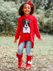 Girls Sequin Applique Hi-Lo Hoodie Sweater - Girls Sweater