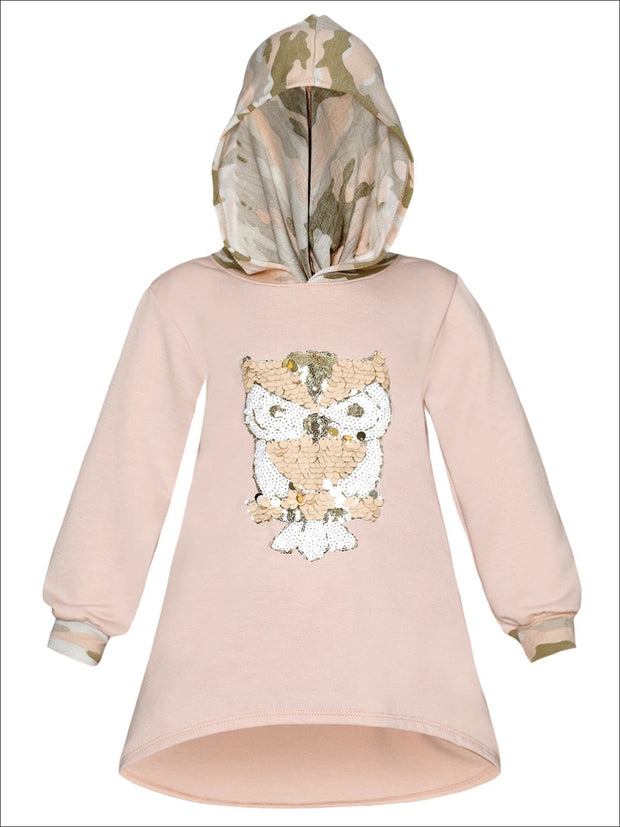 Girls Sequin Applique Hi-Lo Hoodie Sweater - Pink / 2T/3T - Girls Sweater