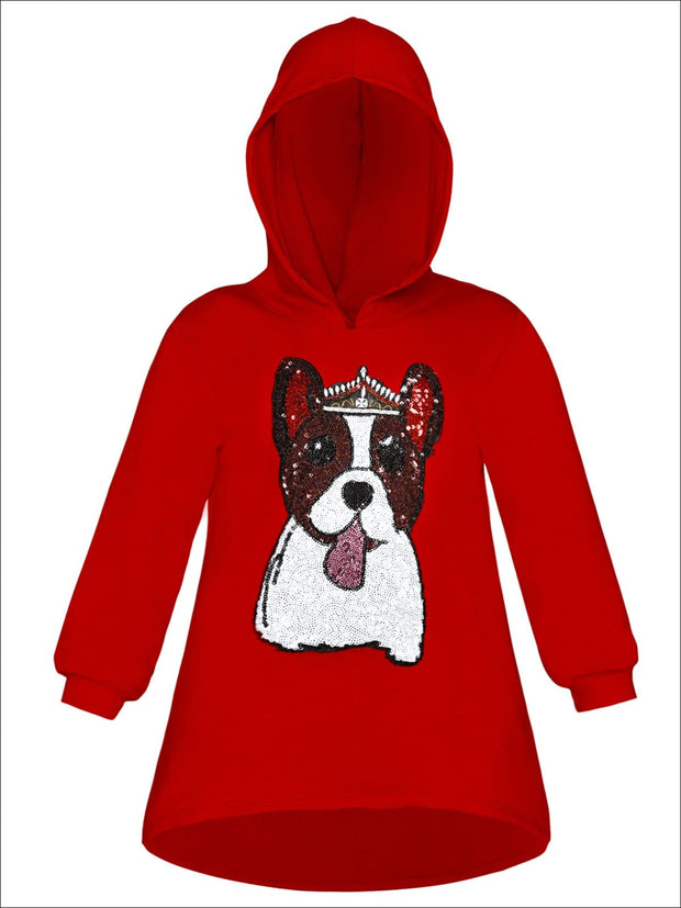 Girls Sequin Applique Hi-Lo Hoodie Sweater - Red / 2T/3T - Girls Sweater