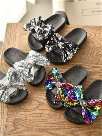 Girls Sequin Bow Slides - Girls Sandals