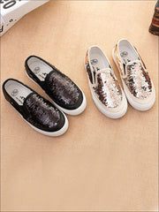 Girls Sequin Casual Slip On Sneakers - Girls Loafers