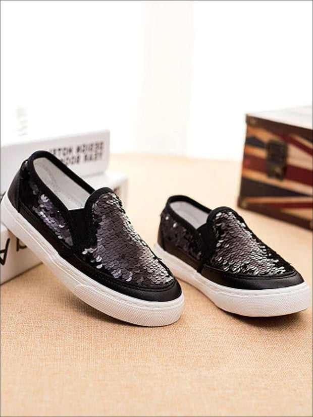 Girls Sequin Casual Slip On Sneakers - Black / 1 - Girls Loafers