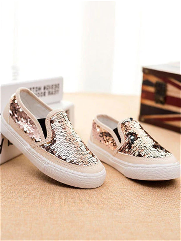 Girls Sequin Casual Slip On Sneakers - Gold / 1 - Girls Loafers