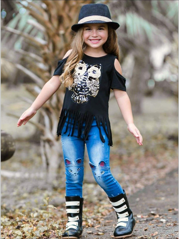 Girls Sequin Cold Shoulder Owl Applique Fringe Tunic - Girls Applique Fringe Tunic