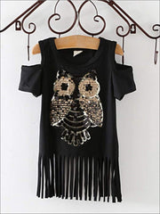 Girls Sequin Cold Shoulder Owl Applique Fringe Tunic - Black / 2T - Girls Applique Fringe Tunic