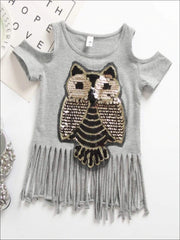 Girls Sequin Cold Shoulder Owl Applique Fringe Tunic - Grey / 2T - Girls Applique Fringe Tunic