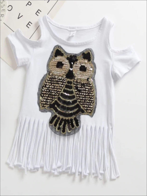 Girls Sequin Cold Shoulder Owl Applique Fringe Tunic - White / 2T - Girls Applique Fringe Tunic