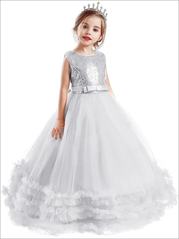 Girls Sequin Embellished Ruffled Tulle Holiday Dress - Girls Fall Dressy Dress