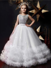 Girls Sequin Embellished Ruffled Tulle Holiday Dress - White / 6Y - Girls Fall Dressy Dress