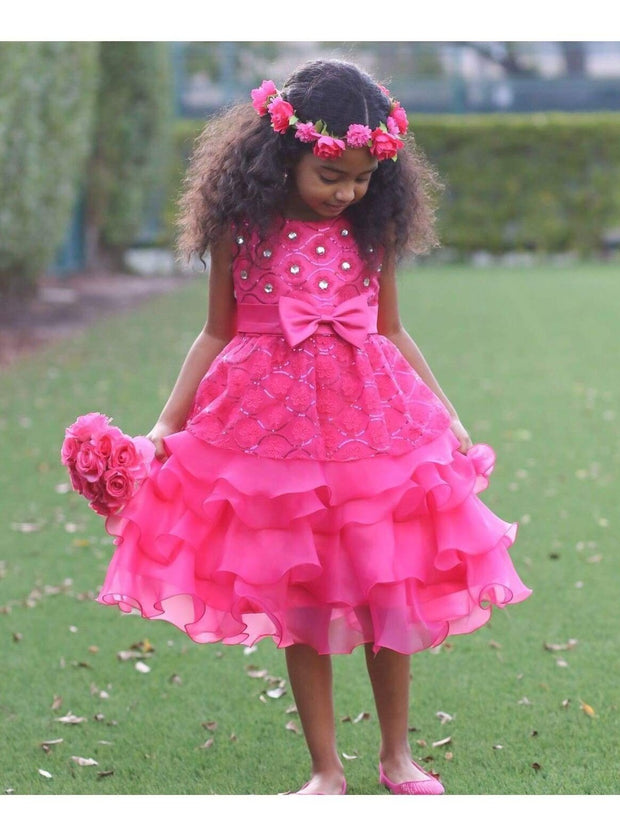 Girls Sequin Floral Tiered Ruffled Bow Flower Girl & Special Occassion Party Dress - Girls Spring Dressy Dress