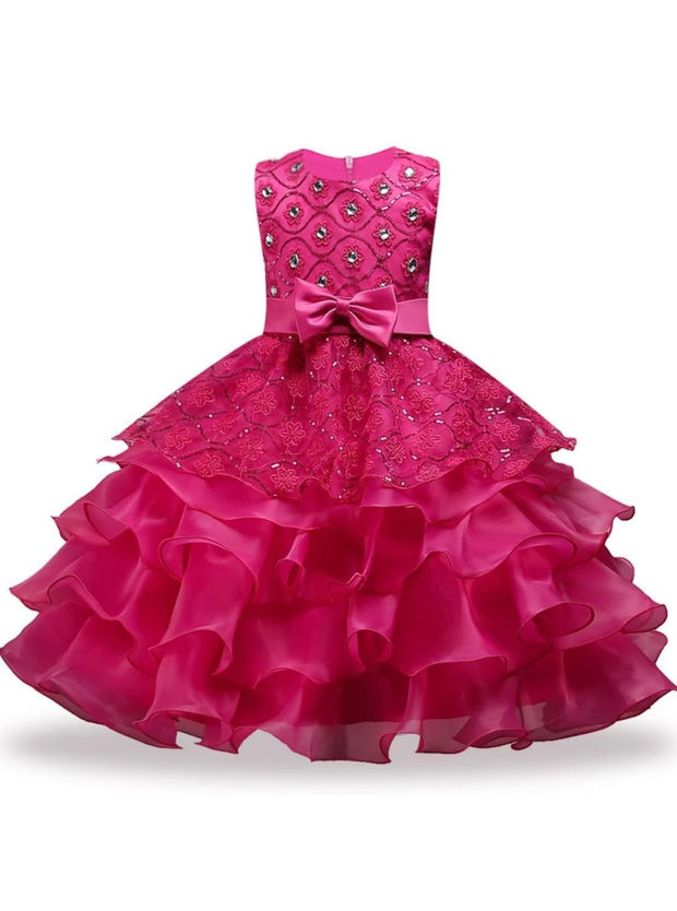 Girls Sequin Floral Tiered Ruffled Bow Flower Girl & Special Occassion Party Dress - Fuchsia / 3T - Girls Spring Dressy Dress